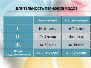 Продолжительность родов у первородящих
