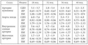 Кровоток в артерии пуповины норма в 27 недель